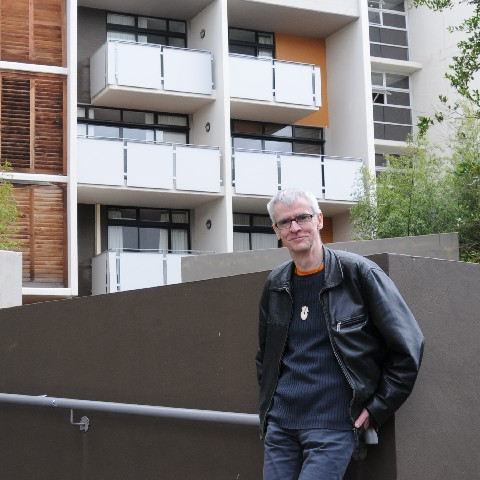 Me in front of my flat